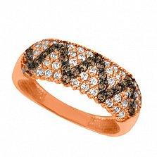 Золотое кольцо Сияние с белыми и черными фианитами