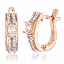 Позолоченные серебряные серьги с фианитами Арбери