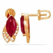 Золотые серьги-пуссеты Изысканность Востока с рубинами и дорожками фианитов