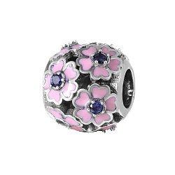 Серебряный шарм Мелодия цветов с синими фианитами и розовой эмалью 000028814