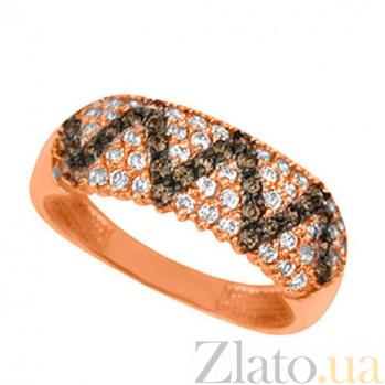 Золотое кольцо Сияние с белыми и черными фианитами VLT--Е1383-2