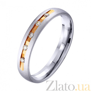 Золотое обручальное кольцо Счастливая пара с фианитами TRF--412956
