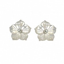 Сережки-пуссеты Клематис на серебряной основе с жемчугом и перламутром