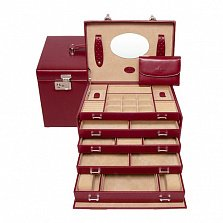 Красная шкатулка для украшений WindRose Merino на двойном замке с выдвижными отделениями и зеркалом