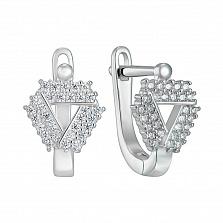 Серебряные серьги с фианитами 000150392