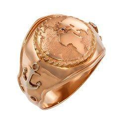 Дизайнерский перстень-печатка Материки из красного золота, в морском стиле с якорями на шинке 000095