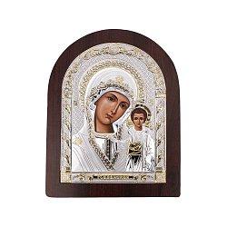 Серебряная икона Божия Матерь Казанская арочной формы 000145051