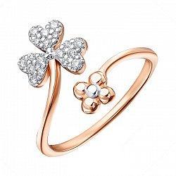 Золотое разомкнутое кольцо в комбинированном цвете с фианитами 000137508