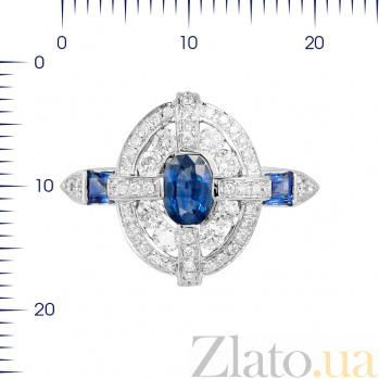Кольцо из белого золота Магдала с бриллиантами и сапфирами 000080929