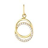 Золотой подвес Сплетенные кольца с фианитами