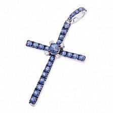 Крест из белого золота с сапфирами и бриллиантами Душевный покой