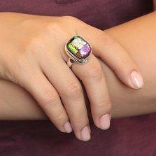 Серебряное кольцо Фантастика с имитацией опала