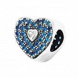 Серебряный шарм Сердце с фианитами 000116454