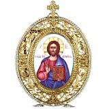 Серебряная икона с финифтьевым образом Господь Вседержитель