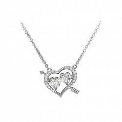 Серебряное колье Два любящих сердца на якорной цепочке с белыми фианитами