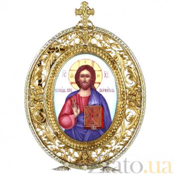 Серебряная икона с финифтьевым образом Господь Вседержитель 2.78.0128
