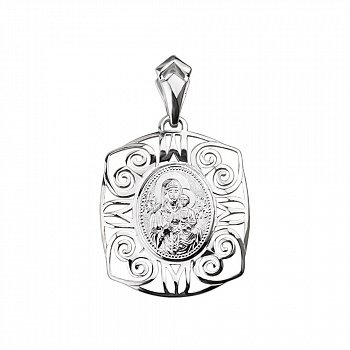 Серебряная ладанка Божья Матерь с орнаментом 000130331