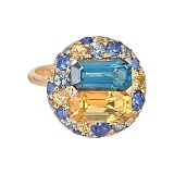 Золотое кольцо с сапфирами и бриллиантами Malaya Patria