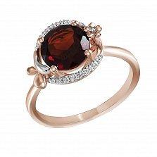 Кольцо из красного золота Кристина с гранатом и бриллиантами