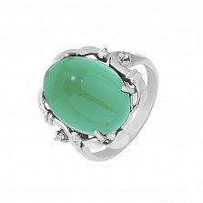 Серебряное кольцо Гарриет с узорами, хризопразом и фианитами