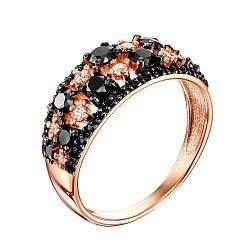 Кольцо из красного золота с черными и белыми фианитами 000123377