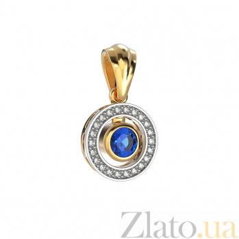 Золотой кулон Елизавета с сапфиром и бриллиантами VLA--33411