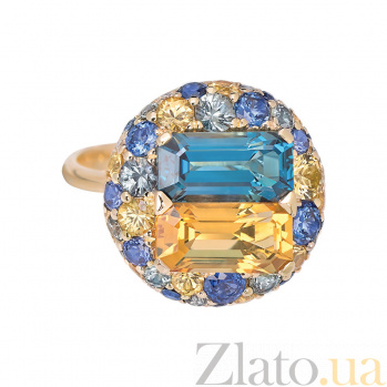Золотое кольцо с сапфирами и бриллиантами Malaya Patria 1К113-0190