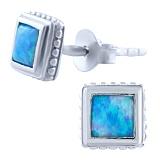 Серебряные серьги Джая с голубыми опалами