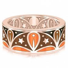 Мужское обручальное кольцо из розового золота с эмалью Талисман: Добра