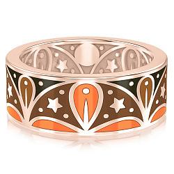 Мужское обручальное кольцо из розового золота с эмалью Талисман: Добра 000009879