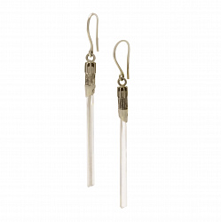 Серебряные серьги-подвески Меч джедая с ситалом