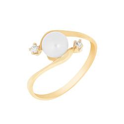 Золотое кольцо Грация с белыми жемчугом и фианитами