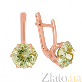 Золотые серьги с зеленым аметистом Корнелиа VLN--113-1370-5