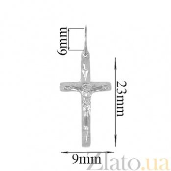 Крестик из серебра Добрый пастырь с родированием 000008176