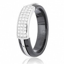 Керамическое кольцо с серебром и фианитами Итидаль
