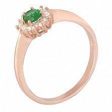 Позолоченное серебряное кольцо с зеленым фианитом Анкария
