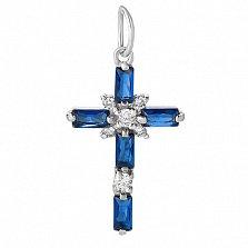Серебряный крестик с синими фианитами Кристальная чистота