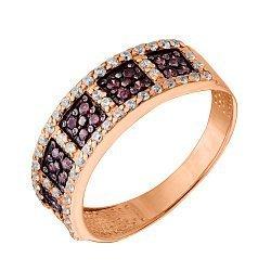 Золотое кольцо в красном цвете Айрин с коньячными и белыми фианитами