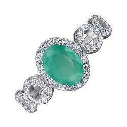 Серебряное кольцо с изумрудом и фианитами 000125657