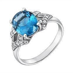 Серебряное кольцо Сусанна с голубым кварцем и фианитами