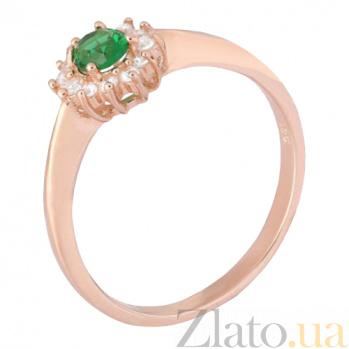 Позолоченное серебряное кольцо с зеленым фианитом Анкария 000028430