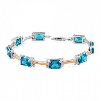 Серебряный браслет с золотыми накладками и синими фианитами 000115983