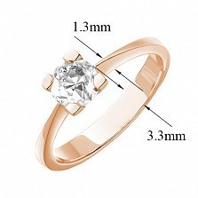 Золотое кольцо Bodicea в красном цвете с бриллиантом
