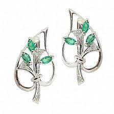 Серебряные серьги с бриллиантами и изумрудами Диля