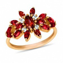 Золотое кольцо Батерфляй с синтезированными рубинами и белыми фианитами
