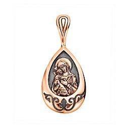 Узорная ладанка в комбинированном цвете золота Богородица с родированием 000130880