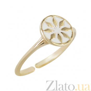 Золотое кольцо с белой эмалью Лайма 2К766-0004