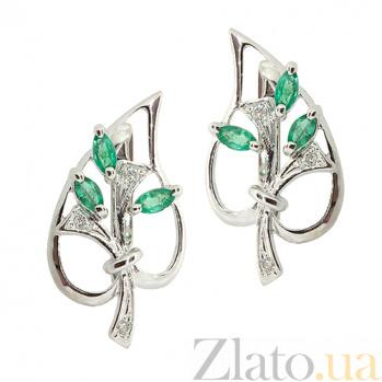 Серебряные серьги с бриллиантами и изумрудами Диля ZMX--EDE-6286-Ag_K