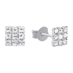 Серебряные серьги-пуссеты с ювелирным стеклом и родием 000102793