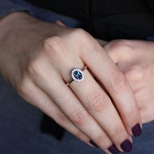 Серебряное кольцо Лия с лондон топазом и фианитами
